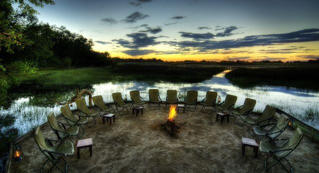 Bonfire at Kanana Camp - luxury African safari