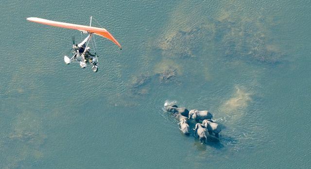 Flight over the Zambezi river