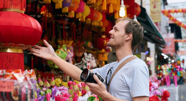 Walk through the streets of colorful Chinatown.