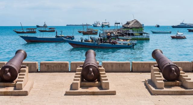 Canons overlooking the ocean at Stone Town