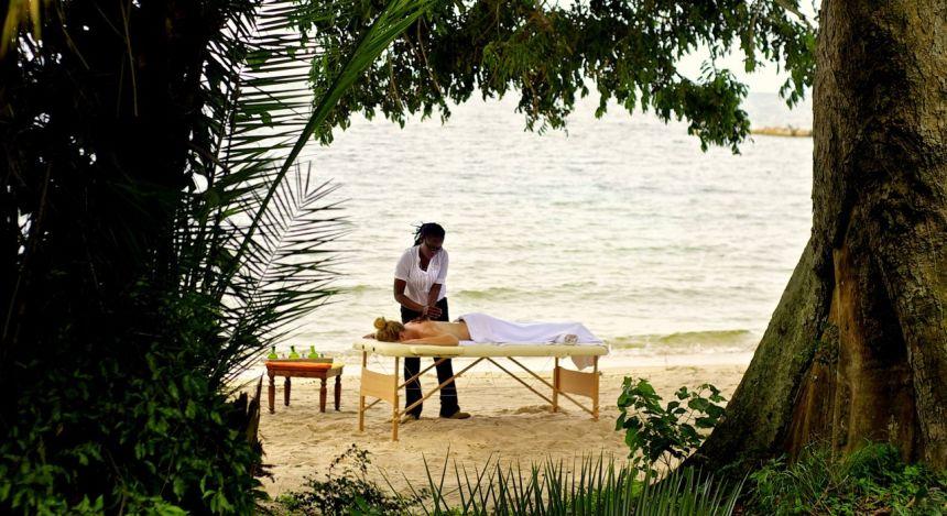 Outdoor massage at Rubondo Island Camp Hotel, Lake Victoria in Tanzania