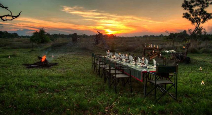 Al fresco dinner at Kanana Camp in Okavango Delta, Botswana