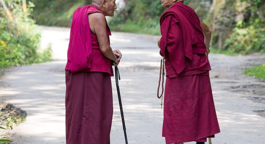Mönche in der Himalaya Region
