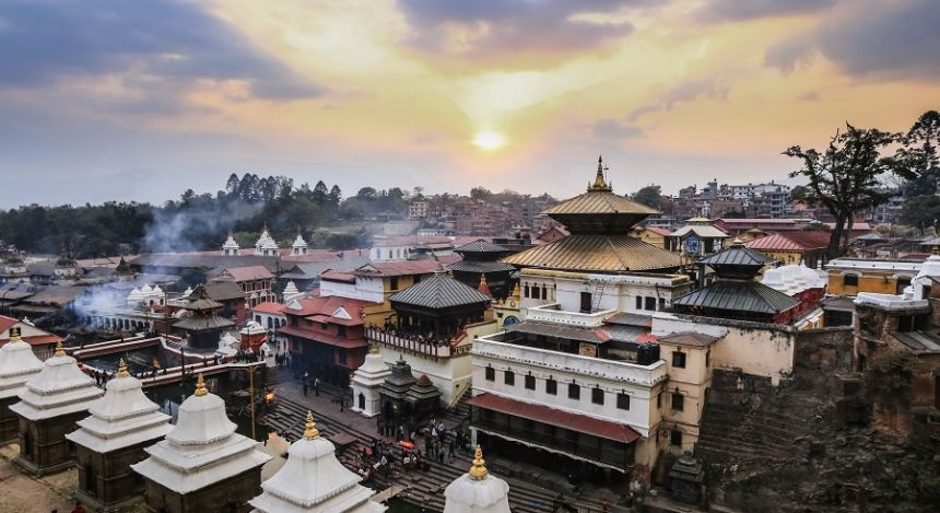 Blick über die Tempel von Kathmandu in Nepal