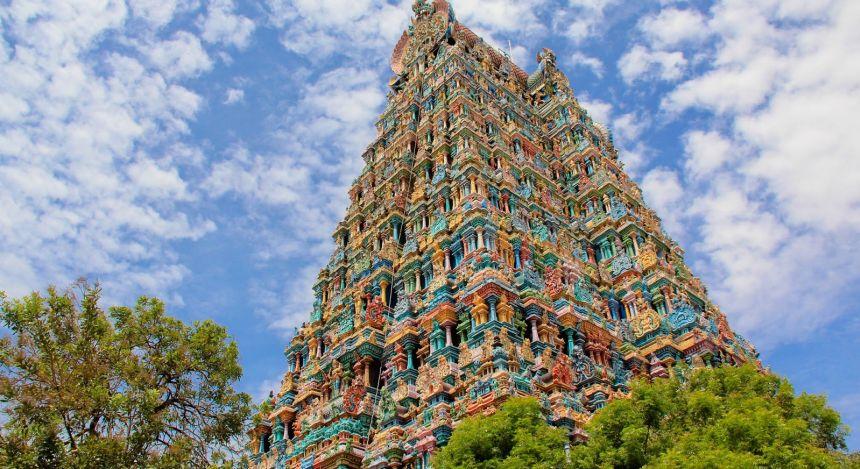 Ansicht des Meenakshi-Tempels in Madurai