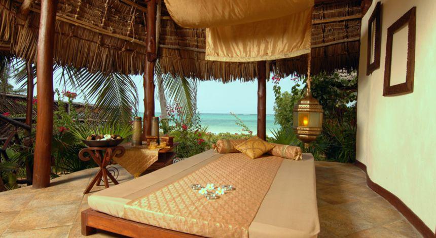 Blick auf dem Strand vom Bett aus
