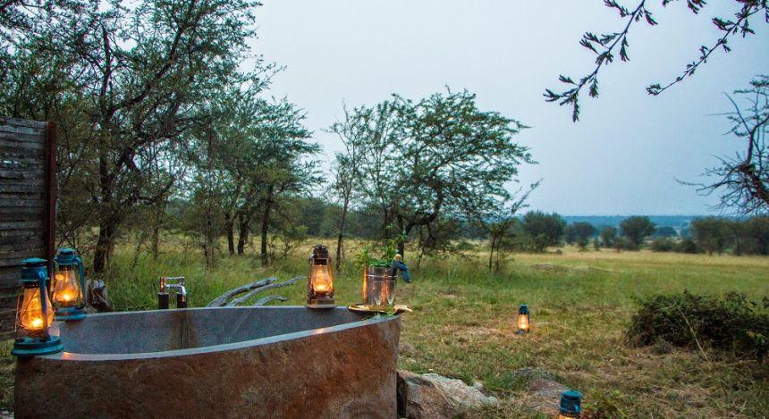 Außen-Badewanne im Safari-Camp