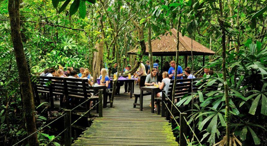 Breakfast outdoors at Abai Jungle Lodge