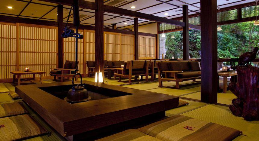 Lobby at Gora Sounkaku in Hakone, Japan