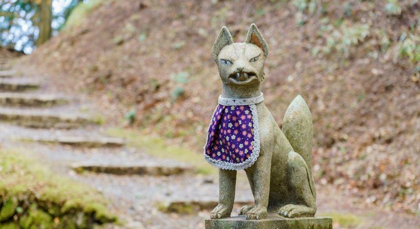 Statue of a fox near Enryakuji Temple