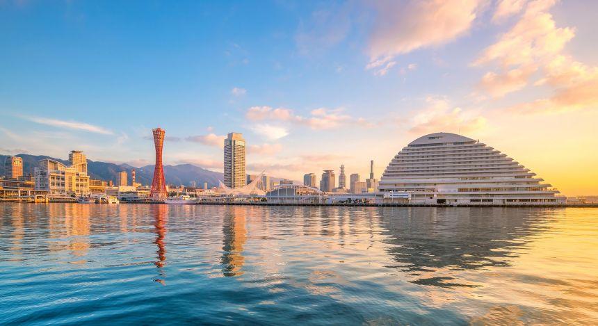 Skyline and port of Kobe at twilight