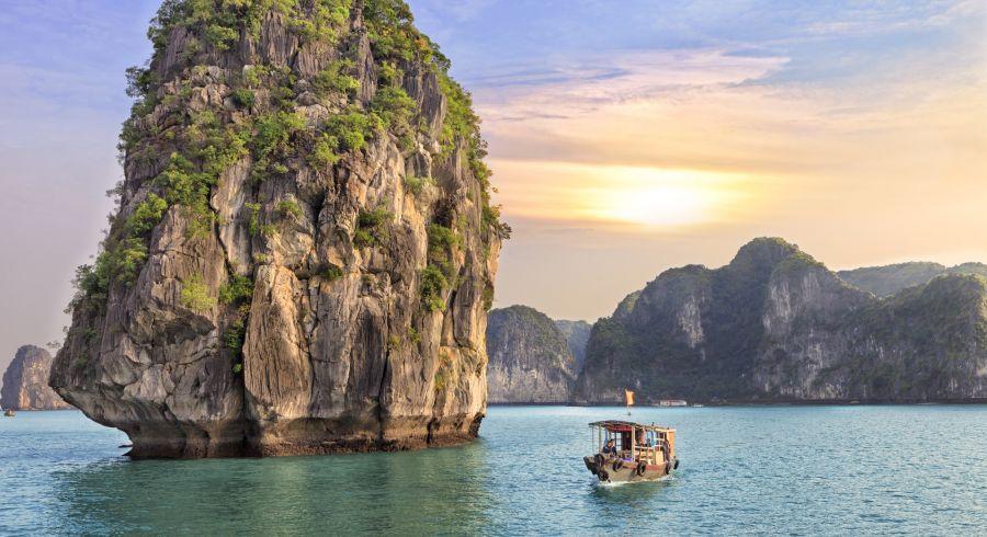 Boot in der Halong-Bucht