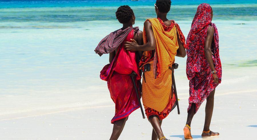 Maasai boys on the shores of Nungwi in Zanzibar