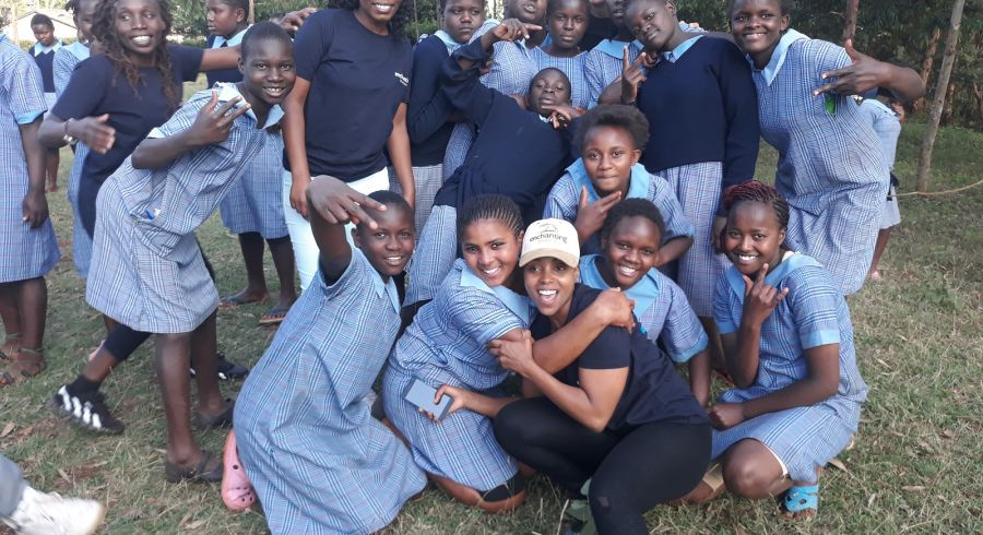 The Enchanting Travels team with children from the Dagoretti Girls Rehab School