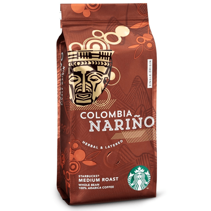 Starbucks Colombia Narino Medium Roast Whole Bean Arabica Coffee