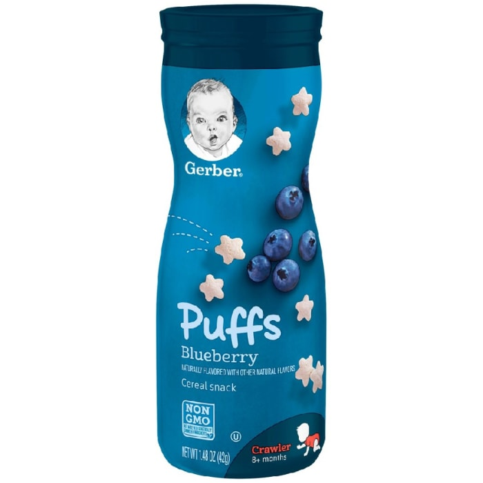 Gerber Graduates Puffs Cereal Snack Blueberry Crawler 8+ Months 42 Grams