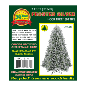 Oncor Frosted Silver Hook Tree 210cm