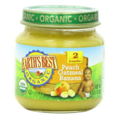 Earths Best Organic Stage 2 Favorite Fruits Peach Oatmeal Banana Baby Food