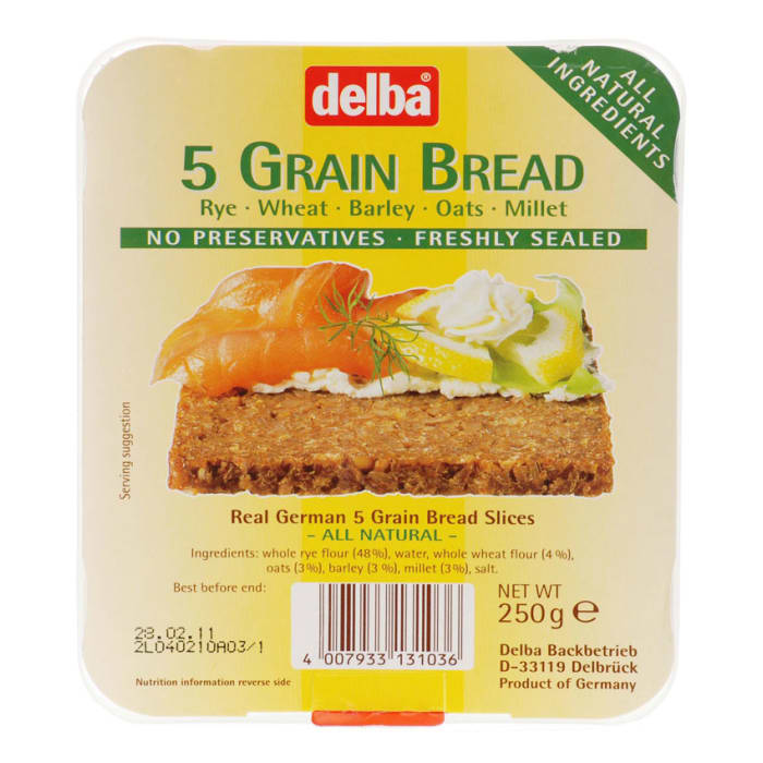 Delba Whole Grain 5 Grain Bread