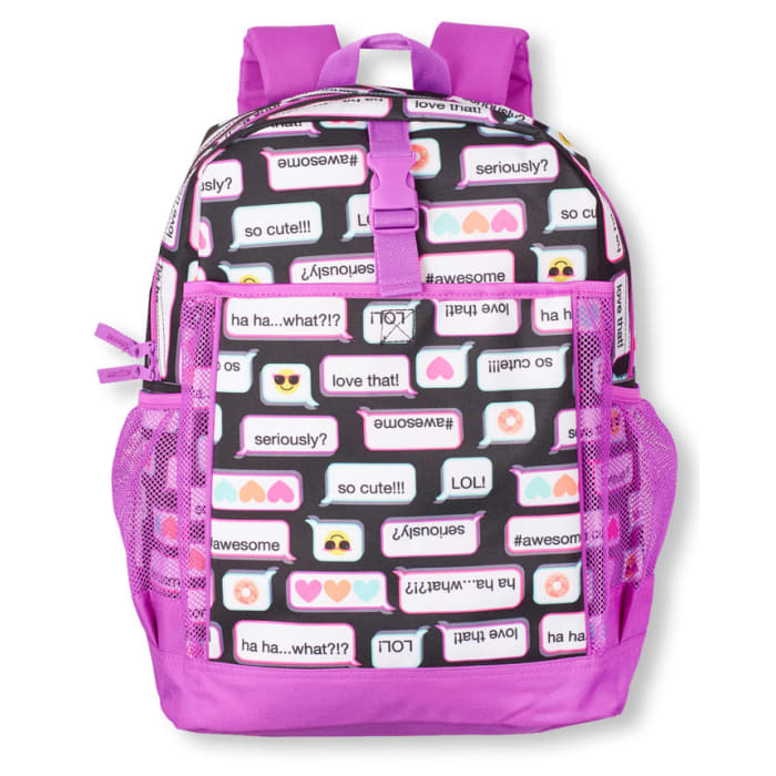 eeb9704edbe3 Details. The Children Place Girls Text Emoji Print Backpack ...