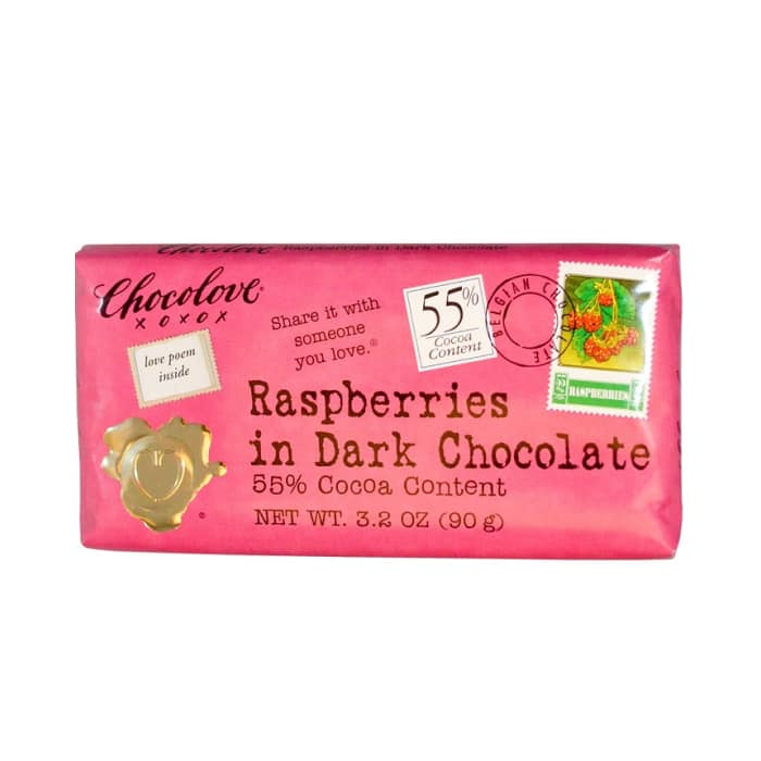 Chocolove Chocolate Bar 55% Raspberries In Dark Chocolate