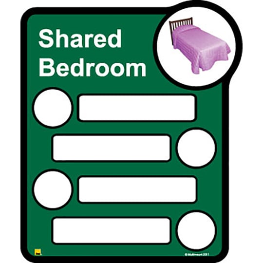 Bedroom Sign - Interchangeable shared by four  - Dementia Signage for Hospitals