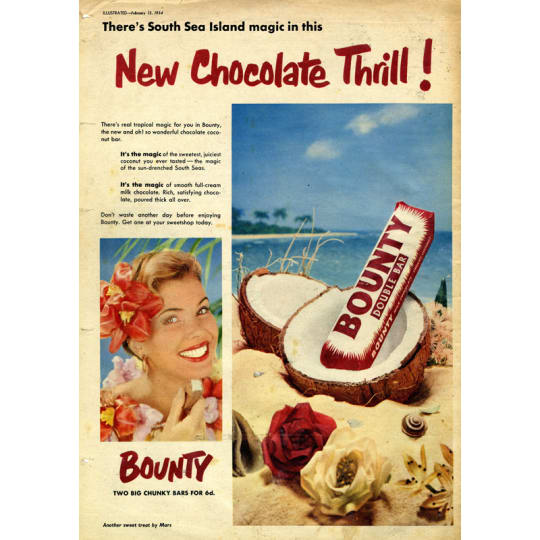 Vintage Bounty Bar Sea Island Ad - A4 (210 x 297mm)