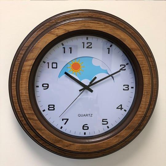 Dementia friendly Wood Surround Day and Night Dementia Clock