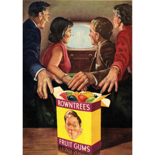 Dementia friendly Family Watching TV With Rowntrees Sweets - A4 (210 x 297mm)