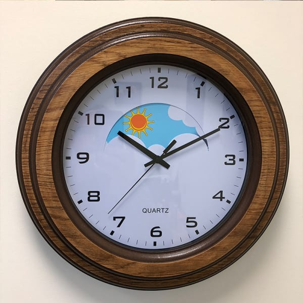 Wood Surround Day and Night Dementia Clock