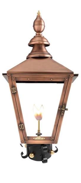 Charleston Gas Post Mount Copper Lantern by Primo