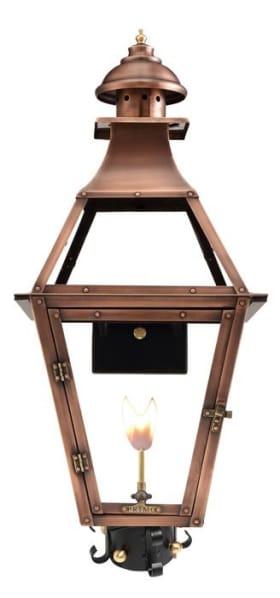Jackson Gas Post Mount Copper Lantern by Primo
