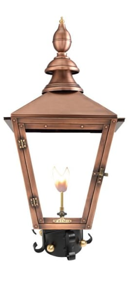 Charleston Gas Post Mount Copper Lantern by Primo