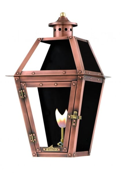 Orleans Flush Wall Mount Copper Lantern by Primo
