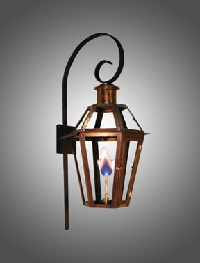 Six Sided Bourbon Street wall lantern with scroll