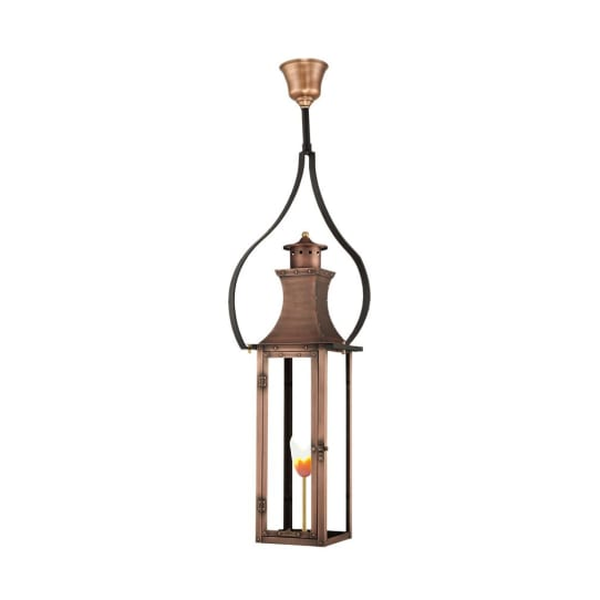 Bishop Gas Hanging Yoke Copper Lantern