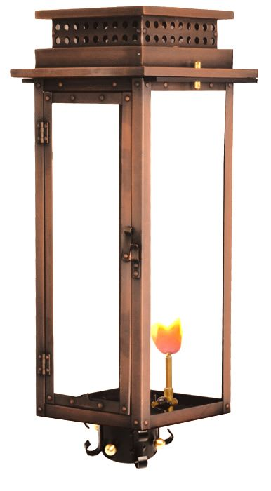 Nouveau Post Mount Gas Copper Lantern by Primo