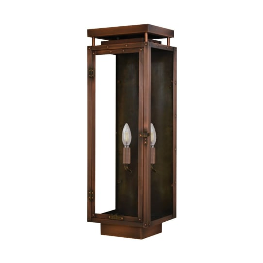 Yorkshire Wall Mount Antique Copper Lantern by Primo