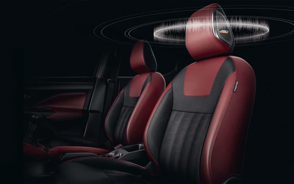 Nissan Micra kan leveres med Bose audiosystem som gir deg høytalere i nakkestøtten