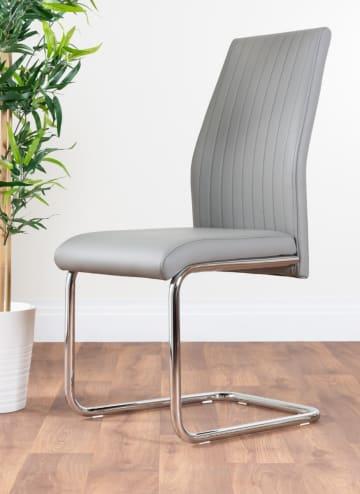 2x Lorenzo Modern Elephant Grey Faux Leather Chrome Dining Chairs