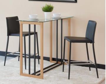 Brooklyn Modern Rectangular Clear Glass Oak Wood And Black Industrial Metal High Bar Table