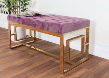 Cambridge Modern Gold Metal & Pink Velvet Upholstered Luxury Bench