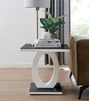 Giovani Modern Black/White Halo High Gloss Glass Side/End Table