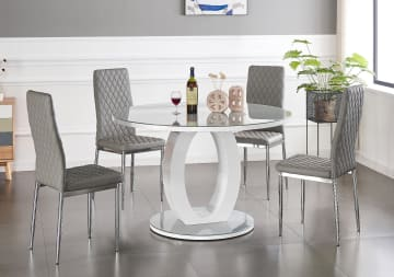 Giovani Grey/White High Gloss And Glass 100cm Round Dining Table And 4 Milan Chairs Set