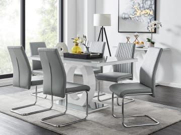 Giovani Grey/White Modern High Gloss And Glass Dining Table And 6 Lorenzo Chairs Set