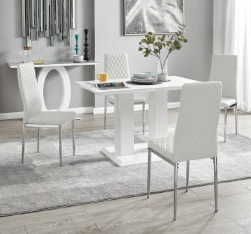 Imperia 4 Modern White High Gloss Dining Table And 4 Milan Chairs Set