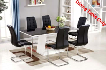 Murano Large High Gloss Black/White Dining Table Only