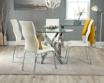 Novara Chrome Metal 100cm Round Glass Dining Table And 4 Andora Dining Chairs