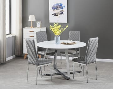 Santorini White Wood Contemporary Round Dining Table And 4 Milan Chairs