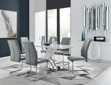 Sorrento White High Gloss And Stainless Steel Dining Table And 6 Lorenzo Dining Chairs